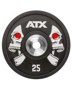 "ATX® XTREME Polyuretan Bumper Plate / Viktskiva - i storlek 5 kg till 25 kg - Motiv ""SKALLE"""